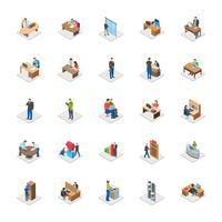 Pessoas de escritório plana vetor ícones