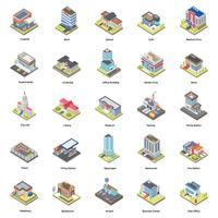 Pacote de ícones isométrica de edifícios vetor