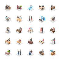 Atividades de escritório plana vetor ícones