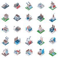 Ícones isométricos de edifícios de fábrica