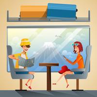 Turistas viajando de trem vetor