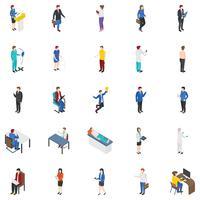 Conjunto de ícones isométrica de pessoas profissionais vetor