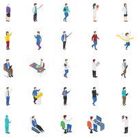 Ícones isométricos de pessoas profissionais