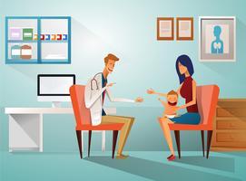 Mãe e bebê no consultório do médico vetor