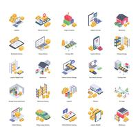 Pacote de ícones de entrega logística vetor