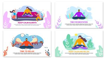 Mantenha a calma sempre tempo para meditação Relaxe Banner vetor