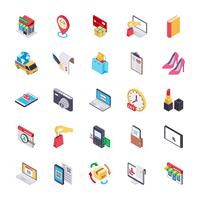 E-commerce e ícones planos de compras