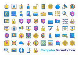 Conjunto de ícones de segurança de computador