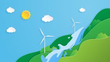 conceito de conservação do meio ambiente no estilo de corte de papel vetor