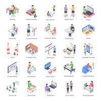 Conjunto de ícones do professor crianças e escola isométrica vetor