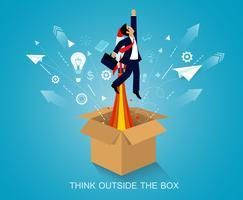 Homem, pensando, exterior, caixa vetor