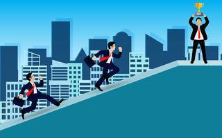 Competição do homem de negócios na elevação a inclinação.