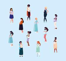 grupo de mulheres grávidas vetor