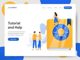 Modelo de página de aterrissagem de tutorial e conceito de ilustração de ajuda