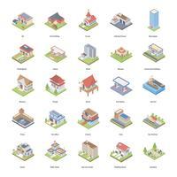 Conjunto de ícones isométrica de edifícios