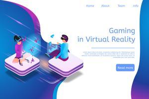 Jogos de banner isométrico em realidade virtual em 3d vetor