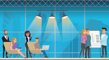 Reunião de apresentação no Openplace Coworking Office vetor