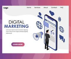 Gráfico isométrico de tecnologia de mídia de Marketing Digital vetor