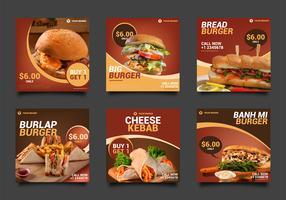 Pacote de postagem de mídia social Burger