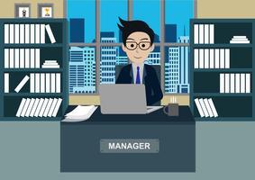 Gerente, em, escritório, sentando, em, seu, escrivaninha, com, laptop vetor
