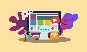 Área de trabalho da página da Web de gerenciamento de conteúdo