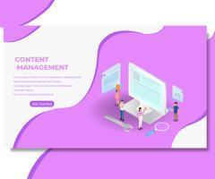 Página da Web de gerenciamento de conteúdo vetor