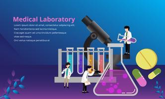 Pesquisa de laboratório médico com ciência vidro tubo vetor ilustração conceito minúsculas pessoas, apropriado para papel de parede, Banner, fundo, cartão, ilustração de livro, Web Landing Page