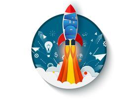 pense fora da caixa. Lançamento do ônibus espacial para o céu.