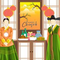 Feliz Coreano Chuseok Vector