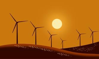 Silhueta de turbinas eólicas vetor