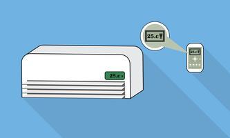 Condicionador de ar e controle remoto no fundo azul vetor