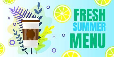 Banner escrito menu de verão fresco