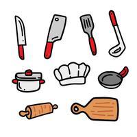 Conjunto de Doodle de cozinha desenhados à mão vetor