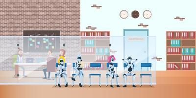Fila de robôs no escritório moderno espera a entrevista de emprego vetor