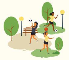 Pessoas, treinamento, futebol, parque, desenhos animados