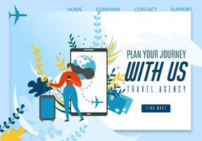 Página da aterrissagem da agência de viagens que oferece a melhor viagem vetor