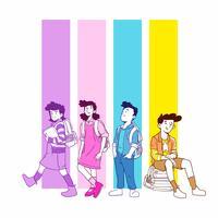 Volta para ilustração de alunos de escola vetor
