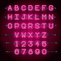 Fonte de alfabeto de luzes de néon vetor