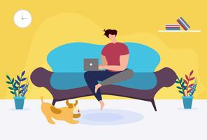 Homem com Laptop sentado no sofá em casa dos desenhos animados vetor