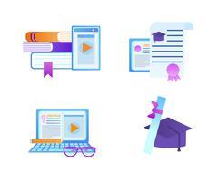 Conjunto de ícones educacionais isolado no fundo branco