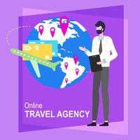 Agência de viagens on-line Cartoon homem trabalhador vetor