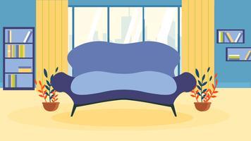 Janela de estante de sofá interior sala vazia vetor