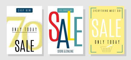 Cartões de Design de vendas de verão com descontos frescos definidos vetor