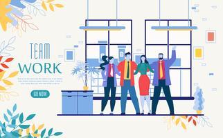 Modelo de site de inicialização de trabalho de equipe de negócios vetor