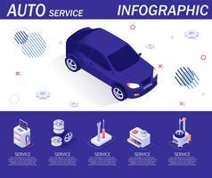 Auto serviço infográfico com ícones isométricos