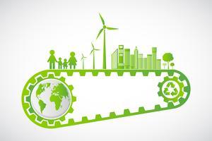 Conceito de engrenagem de economia de ecologia e desenvolvimento de energia ambiental sustentável, ilustração vetorial vetor