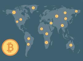 Bitcoins espalhados no mapa vetor