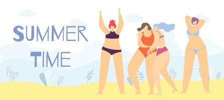Faixa positiva da mulher dos desenhos animados do corpo do tempo de verão