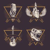 Desenhos de emblemas de rock vintage vetor