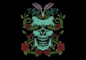 crânio com decoração de rosas vetor